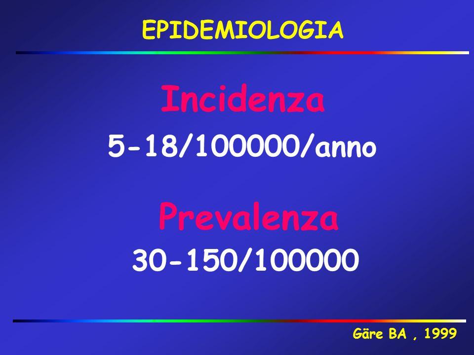 EPIDEMIOLOGIA Incidenza 30-150/100000 Gäre BA, 1999 Prevalenza 5-18/100000/anno