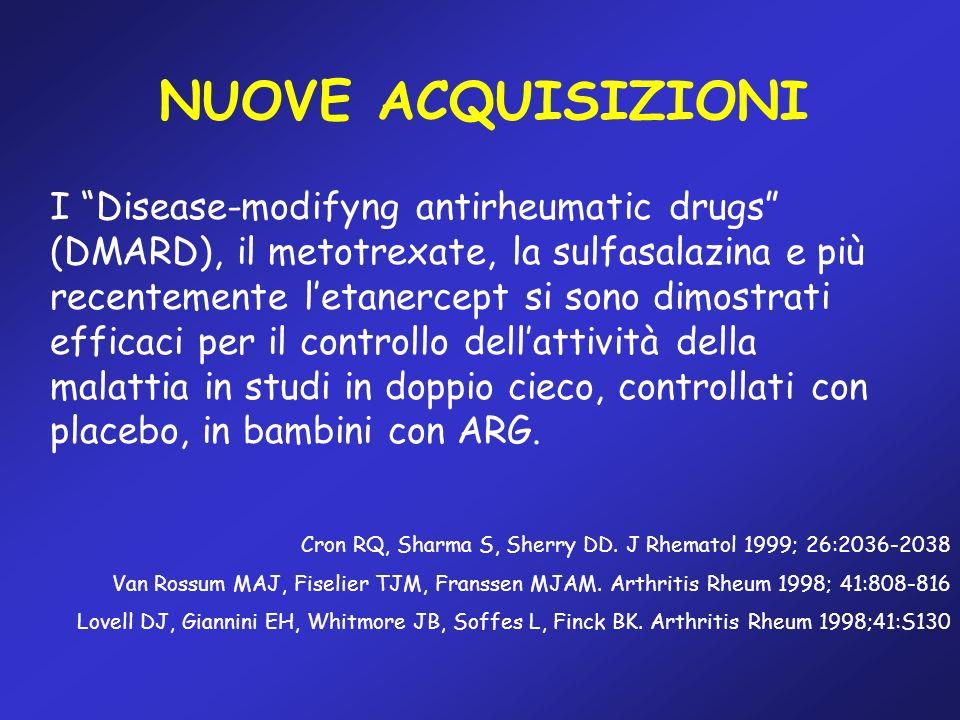 NUOVE ACQUISIZIONI I Disease-modifyng antirheumatic drugs (DMARD), il metotrexate, la sulfasalazina e più recentemente letanercept si sono dimostrati
