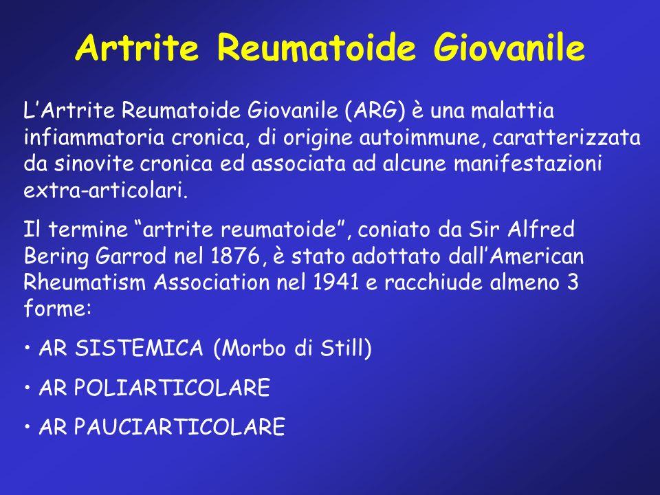 Artrite Reumatoide Giovanile LArtrite Reumatoide Giovanile (ARG) è una malattia infiammatoria cronica, di origine autoimmune, caratterizzata da sinovi