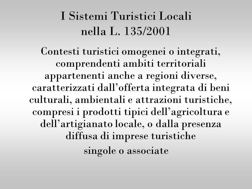 I Sistemi Turistici Locali nella L. 135/2001 Contesti turistici omogenei o integrati, comprendenti ambiti territoriali appartenenti anche a regioni di