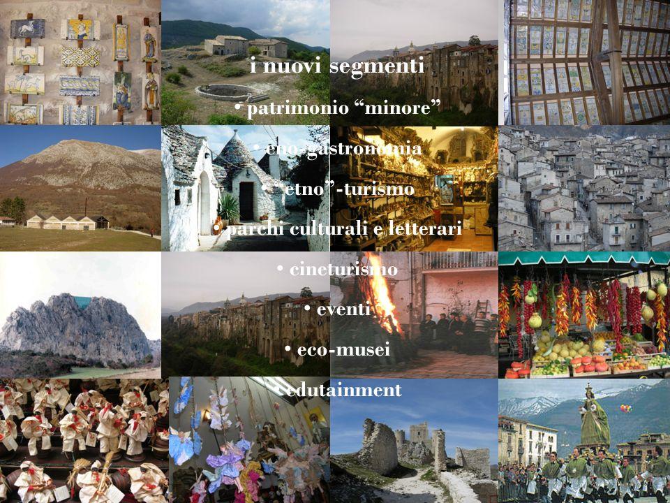 i nuovi segmenti patrimonio minore eno-gastronomia etno-turismo parchi culturali e letterari cineturismo eventi eco-musei edutainment