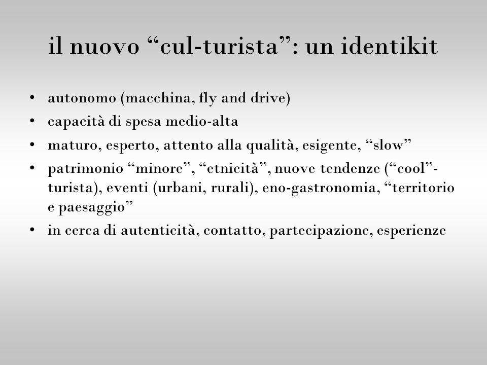 il nuovo cul-turista: un identikit autonomo (macchina, fly and drive) capacità di spesa medio-alta maturo, esperto, attento alla qualità, esigente, sl