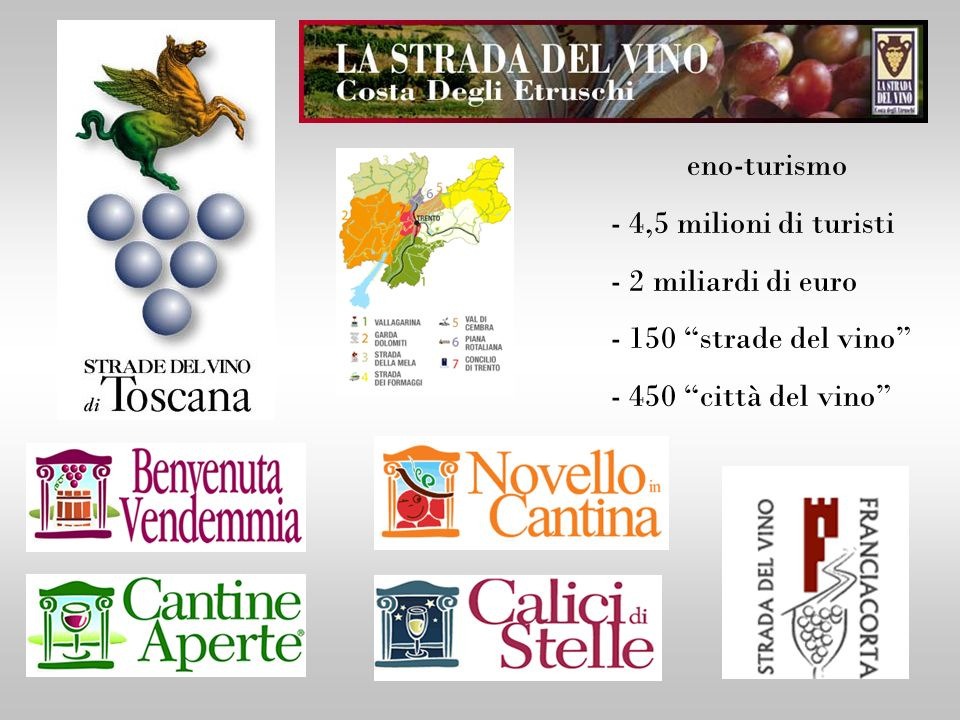 eno-turismo - 4,5 milioni di turisti - 2 miliardi di euro - 150 strade del vino - 450 città del vino