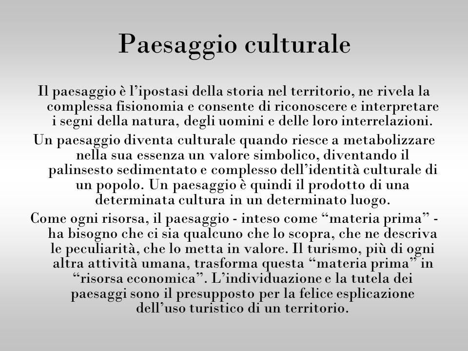 Paesaggio culturale Il paesaggio è lipostasi della storia nel territorio, ne rivela la complessa fisionomia e consente di riconoscere e interpretare i