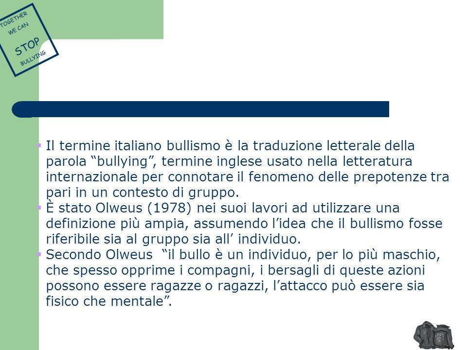 Il termine italiano bullismo è la traduzione letterale della parola bullying, termine inglese usato nella letteratura internazionale per connotare il
