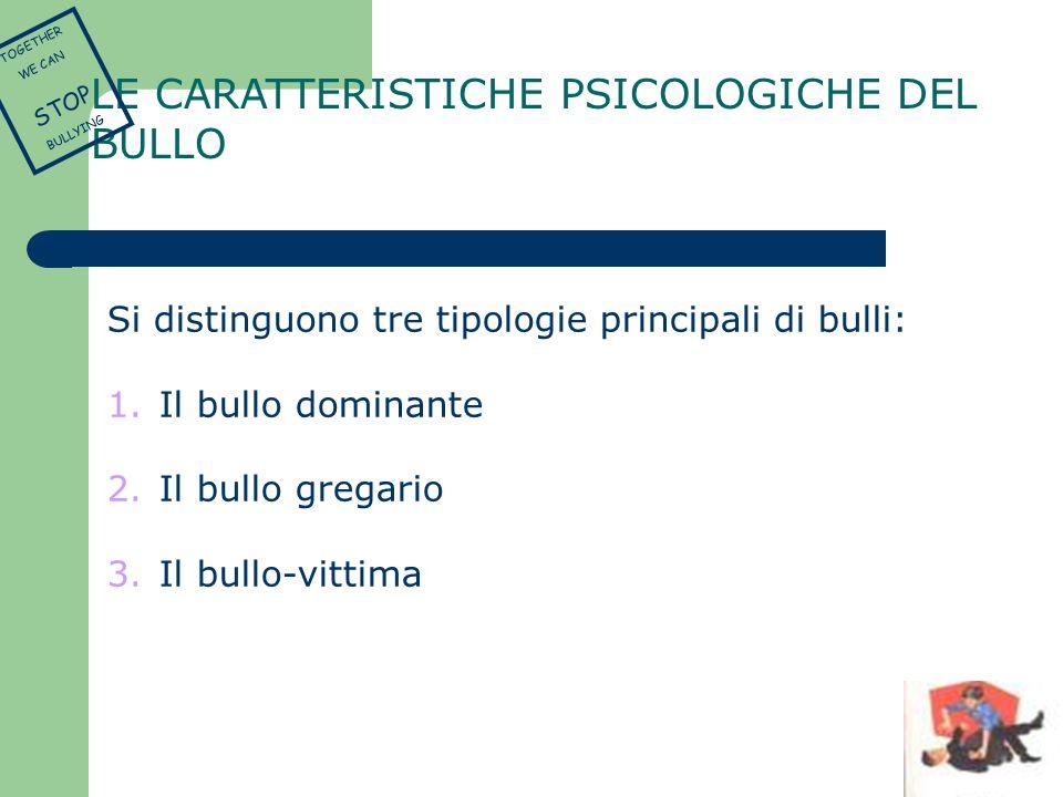 LE CARATTERISTICHE PSICOLOGICHE DEL BULLO Si distinguono tre tipologie principali di bulli: 1. Il bullo dominante 2. Il bullo gregario 3. Il bullo-vit