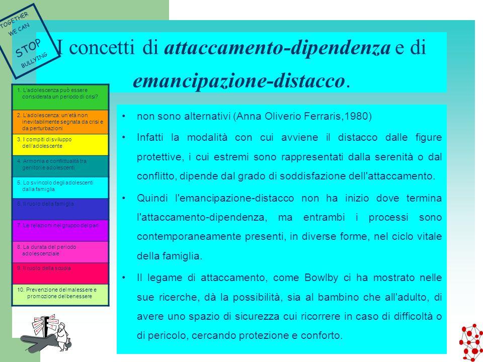 I concetti di attaccamento-dipendenza e di emancipazione-distacco. non sono alternativi (Anna Oliverio Ferraris,1980) Infatti la modalità con cui avvi