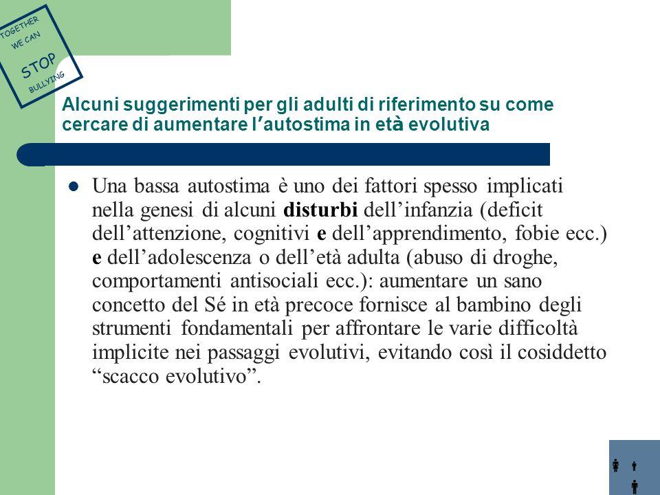 Una bassa autostima è uno dei fattori spesso implicati nella genesi di alcuni disturbi dellinfanzia (deficit dellattenzione, cognitivi e dellapprendim