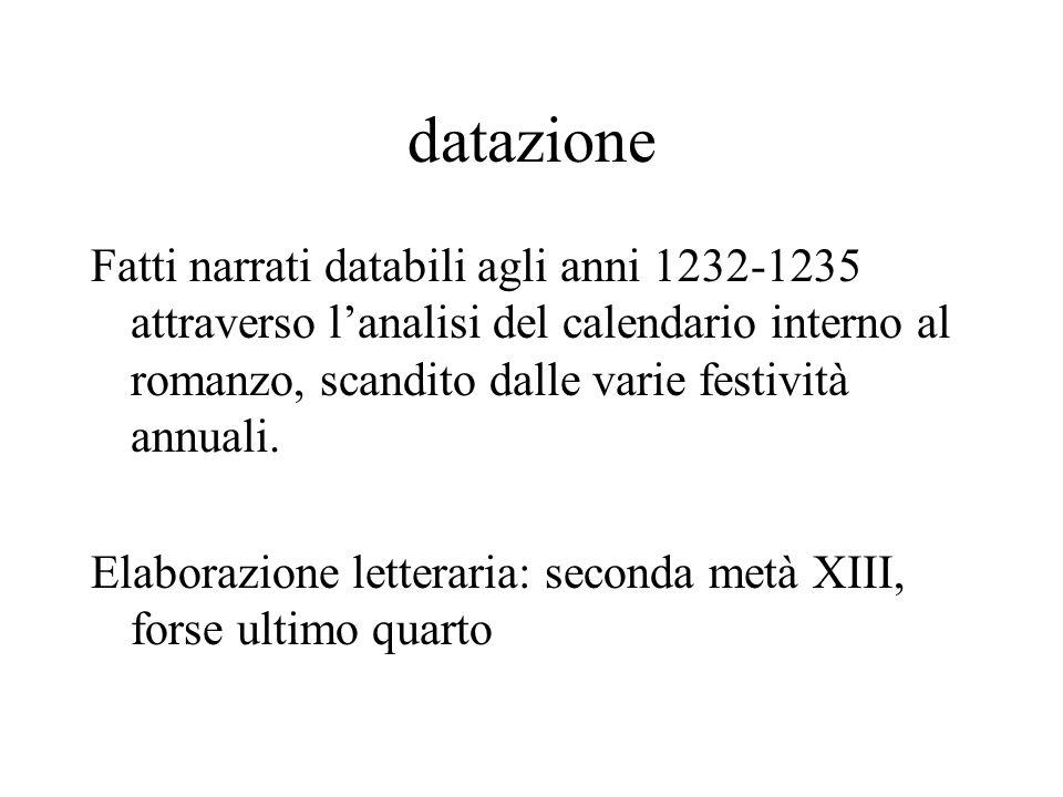 datazione Fatti narrati databili agli anni 1232-1235 attraverso lanalisi del calendario interno al romanzo, scandito dalle varie festività annuali.