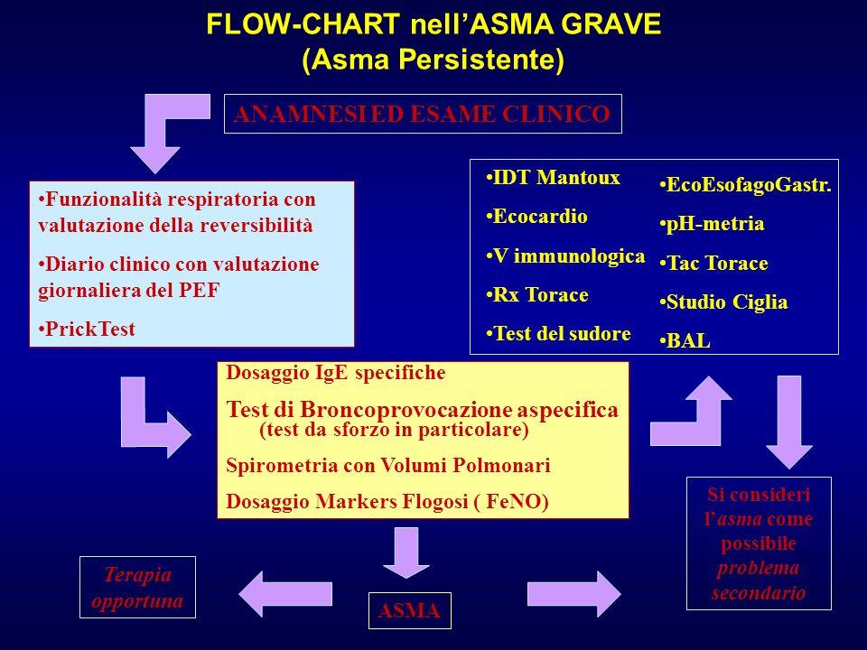 ANAMNESI ED ESAME CLINICO Funzionalità respiratoria con valutazione della reversibilità Diario clinico con valutazione giornaliera del PEF PrickTest E