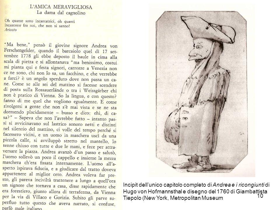 10 Incipit dellunico capitolo completo di Andrea e i ricongiunti di Hugo von Hofmannsthal e disegno del 1760 di Giambattista Tiepolo (New York, Metrop