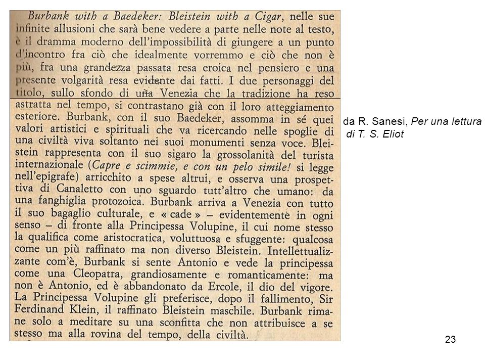 23 da R. Sanesi, Per una lettura di T. S. Eliot