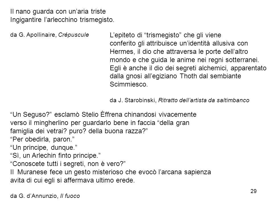 29 Il nano guarda con unaria triste Ingigantire larlecchino trismegisto. da G. Apollinaire, Crépuscule Lepiteto di trismegisto che gli viene conferito