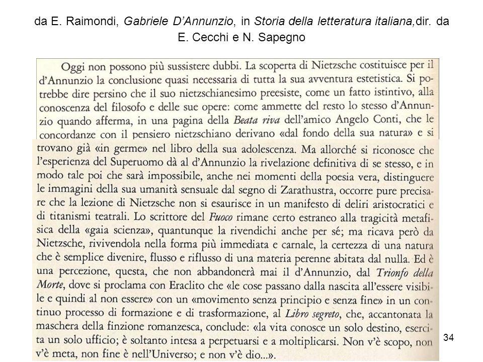 34 da E. Raimondi, Gabriele DAnnunzio, in Storia della letteratura italiana,dir. da E. Cecchi e N. Sapegno