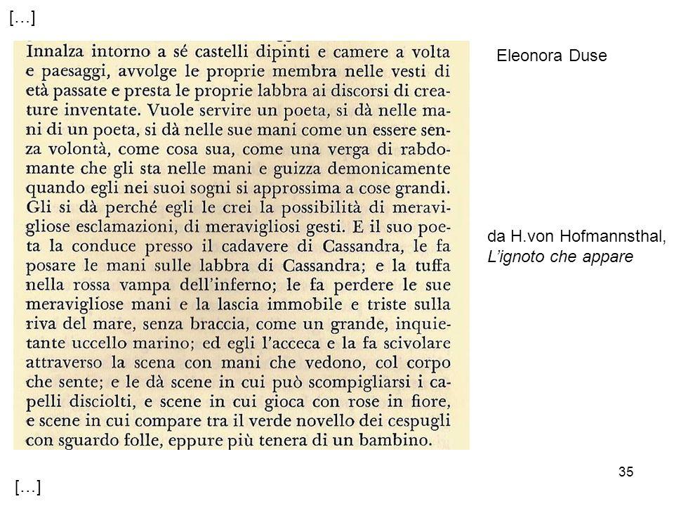 35 […] da H.von Hofmannsthal, Lignoto che appare Eleonora Duse
