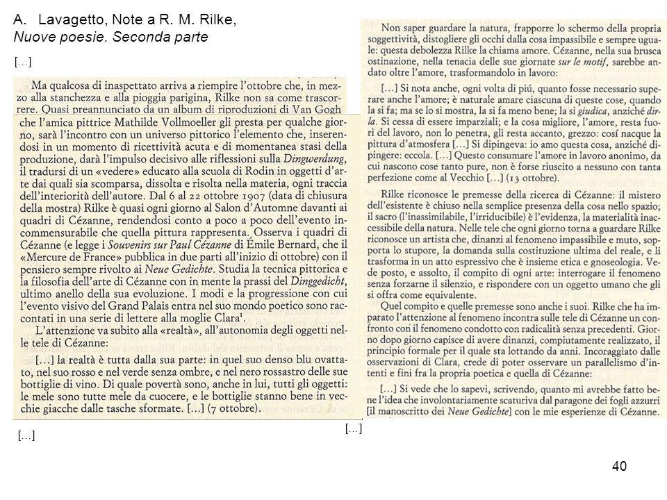 40 A.Lavagetto, Note a R. M. Rilke, Nuove poesie. Seconda parte […]