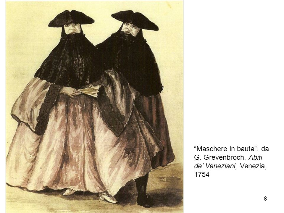 8 Maschere in bauta, da G. Grevenbroch, Abiti de Veneziani, Venezia, 1754
