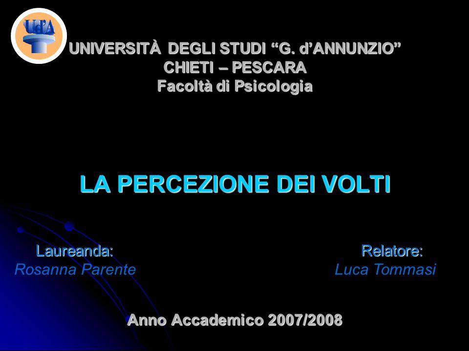 UNIVERSITÀ DEGLI STUDI G. dANNUNZIO CHIETI – PESCARA Facoltà di Psicologia LA PERCEZIONE DEI VOLTI Anno Accademico 2007/2008 Laureanda: Relatore: Laur