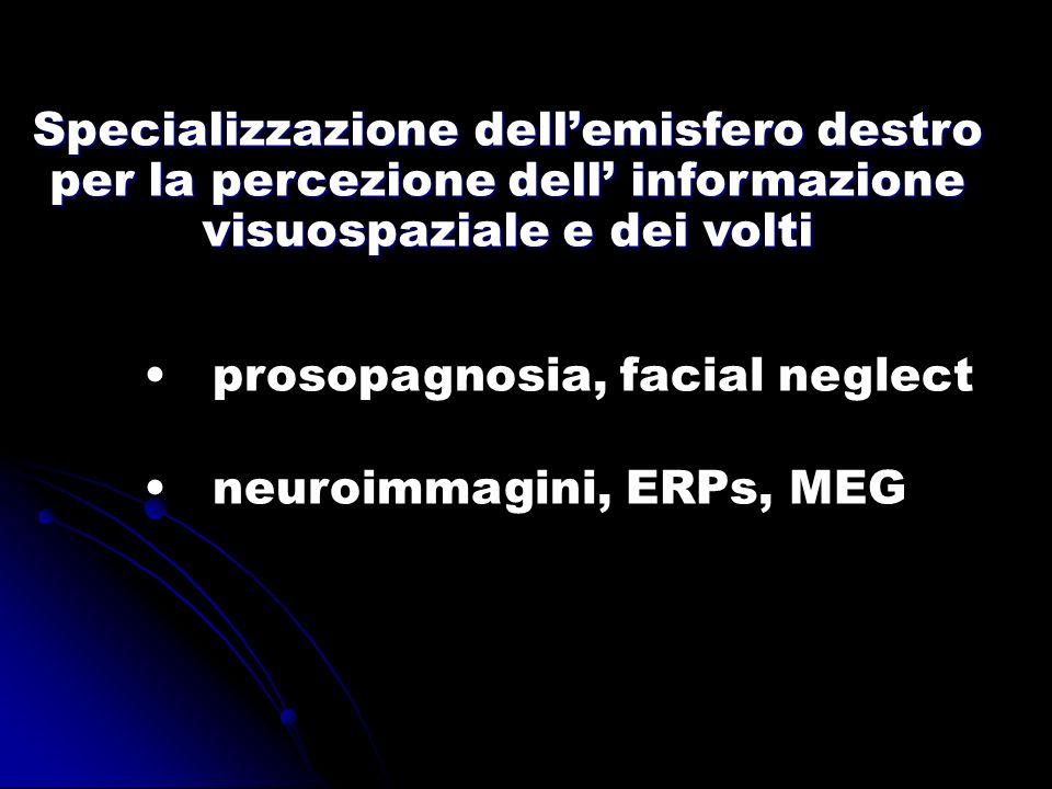 prosopagnosia, facial neglect neuroimmagini, ERPs, MEG Specializzazione dellemisfero destro per la percezione dell informazione visuospaziale e dei vo