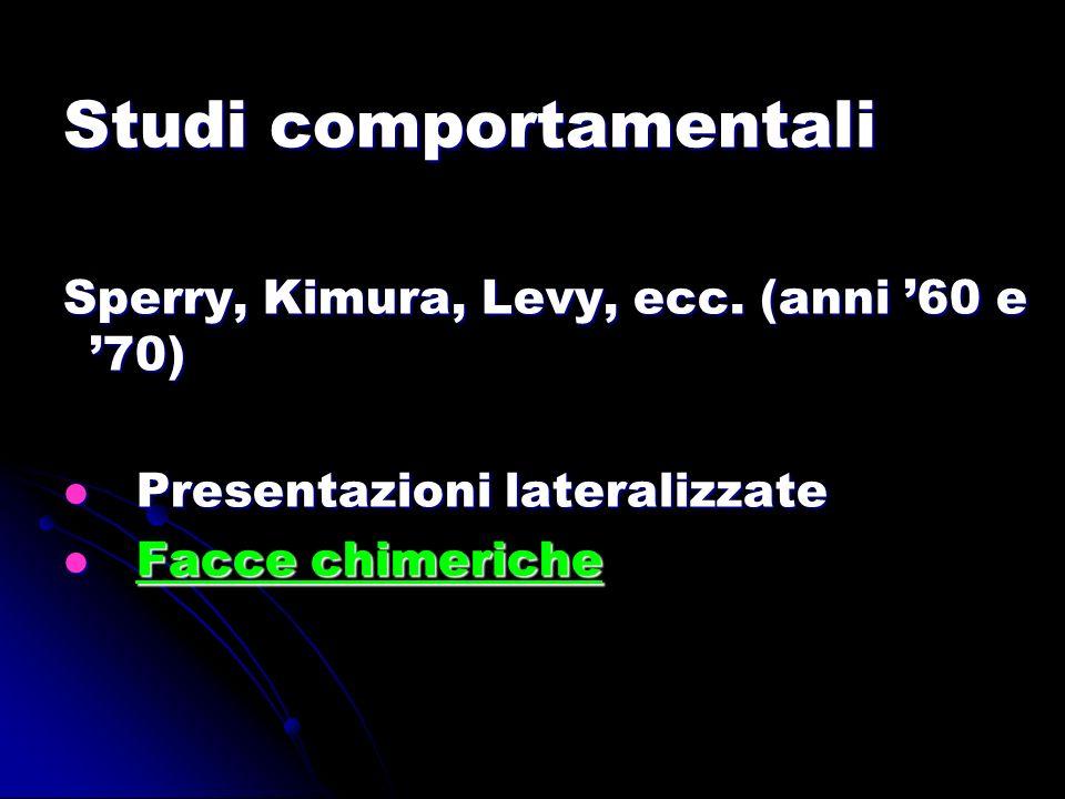 Studi comportamentali Sperry, Kimura, Levy, ecc. (anni 60 e 70) Presentazioni lateralizzate Presentazioni lateralizzate Facce chimeriche Facce chimeri