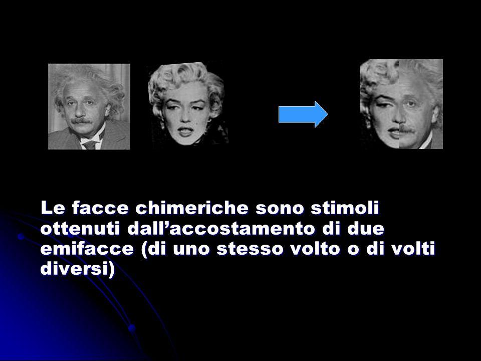 Le facce chimeriche sono stimoli ottenuti dallaccostamento di due emifacce (di uno stesso volto o di volti diversi) Le facce chimeriche sono stimoli o