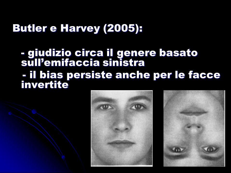 Butler e Harvey (2005): - giudizio circa il genere basato sullemifaccia sinistra - il bias persiste anche per le facce invertite - il bias persiste an