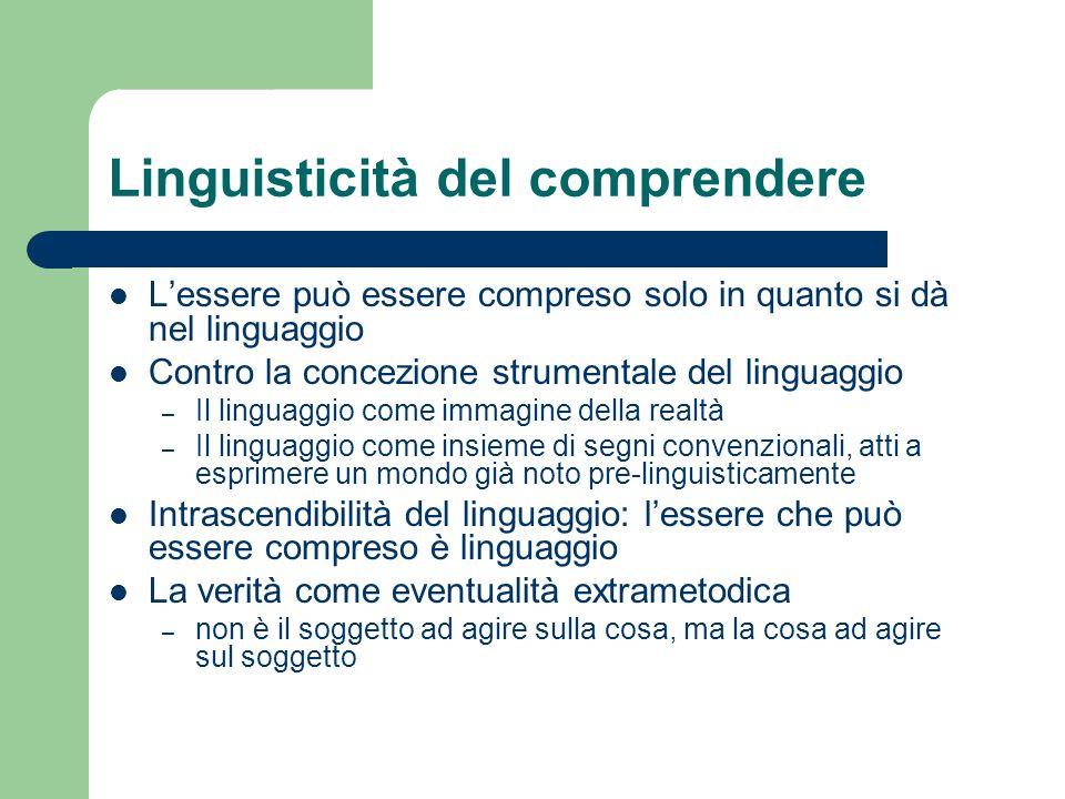 Linguisticità del comprendere Lessere può essere compreso solo in quanto si dà nel linguaggio Contro la concezione strumentale del linguaggio – Il lin