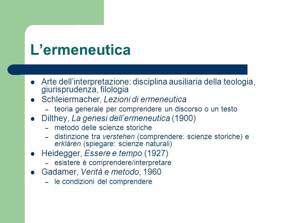 Lermeneutica Arte dellinterpretazione: disciplina ausiliaria della teologia, giurisprudenza, filologia Schleiermacher, Lezioni di ermeneutica – teoria