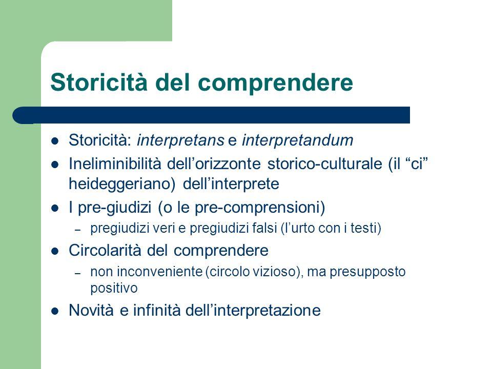 Storicità del comprendere Storicità: interpretans e interpretandum Ineliminibilità dellorizzonte storico-culturale (il ci heideggeriano) dellinterpret
