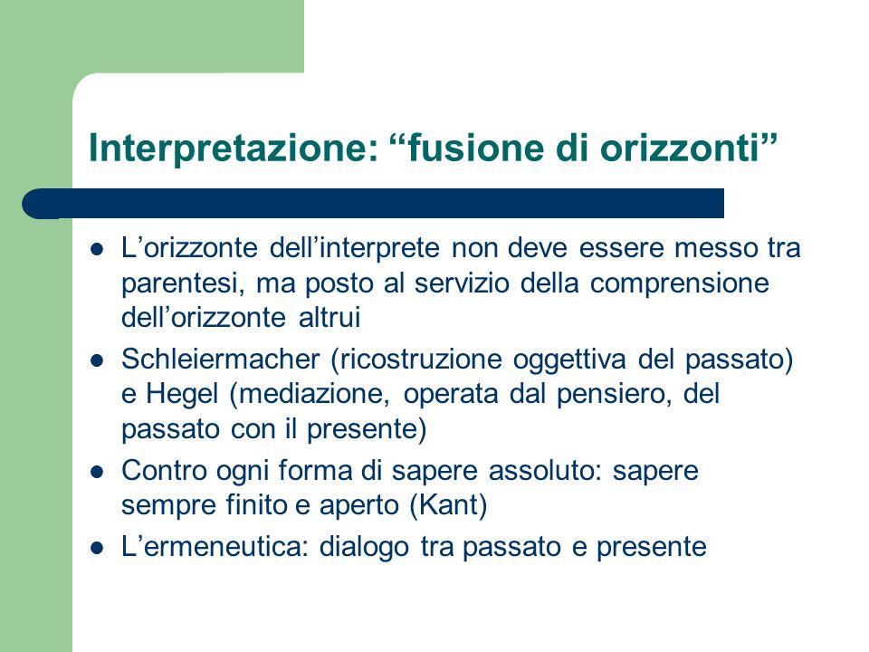 Interpretazione: fusione di orizzonti Lorizzonte dellinterprete non deve essere messo tra parentesi, ma posto al servizio della comprensione dellorizz