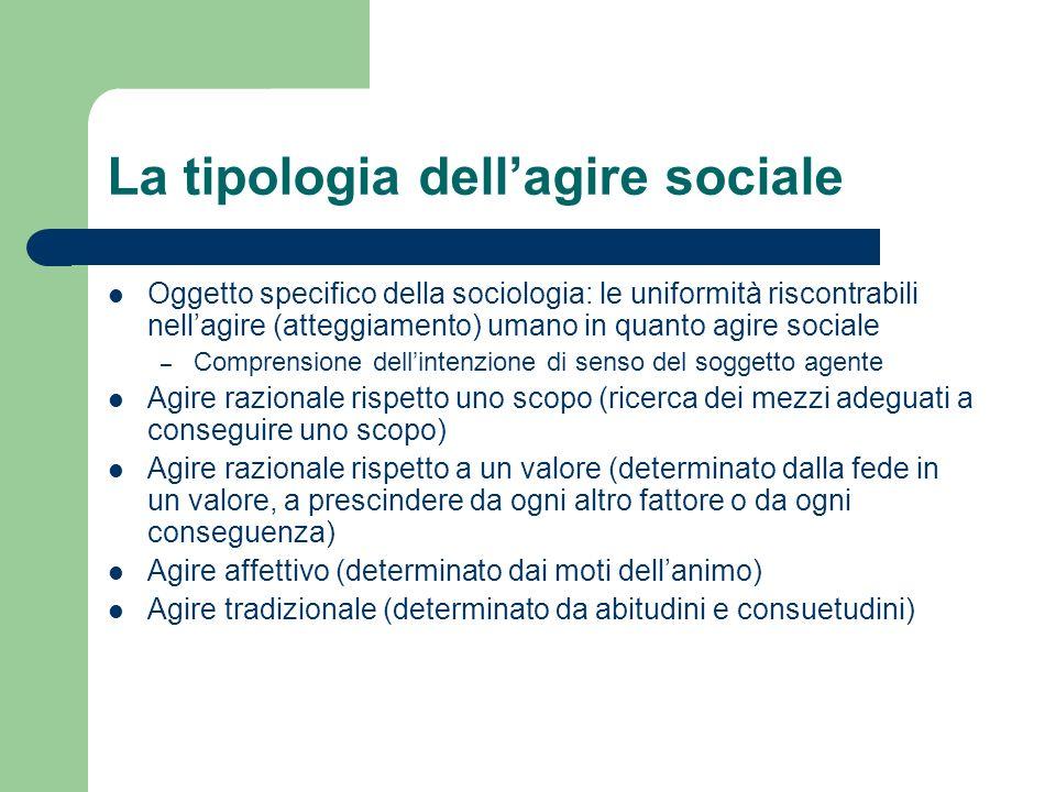 La tipologia dellagire sociale Oggetto specifico della sociologia: le uniformità riscontrabili nellagire (atteggiamento) umano in quanto agire sociale