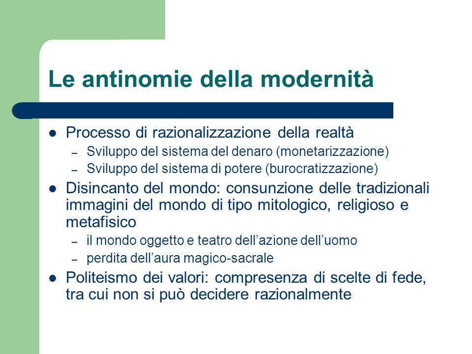 Le antinomie della modernità Processo di razionalizzazione della realtà – Sviluppo del sistema del denaro (monetarizzazione) – Sviluppo del sistema di