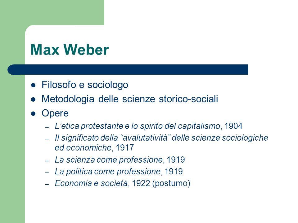 Max Weber Filosofo e sociologo Metodologia delle scienze storico-sociali Opere – Letica protestante e lo spirito del capitalismo, 1904 – Il significat