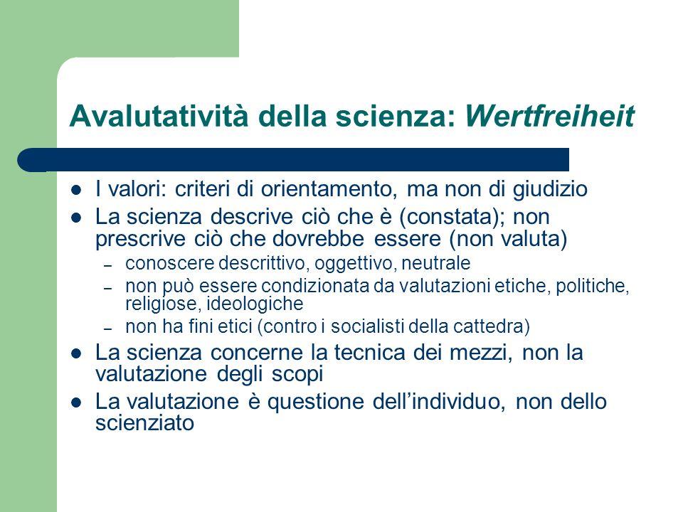 Avalutatività della scienza: Wertfreiheit I valori: criteri di orientamento, ma non di giudizio La scienza descrive ciò che è (constata); non prescriv