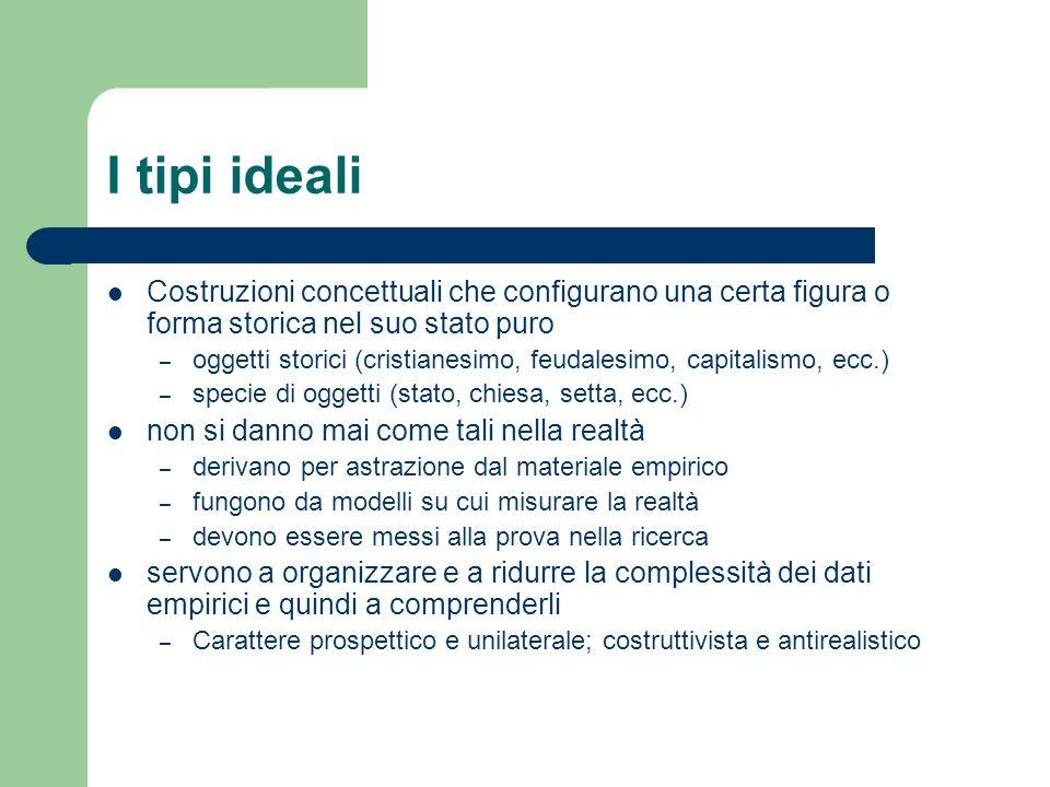 I tipi ideali Costruzioni concettuali che configurano una certa figura o forma storica nel suo stato puro – oggetti storici (cristianesimo, feudalesim