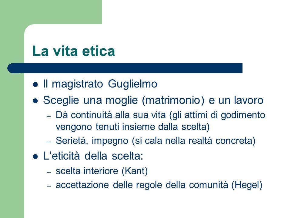 La vita etica Il magistrato Guglielmo Sceglie una moglie (matrimonio) e un lavoro – Dà continuità alla sua vita (gli attimi di godimento vengono tenut