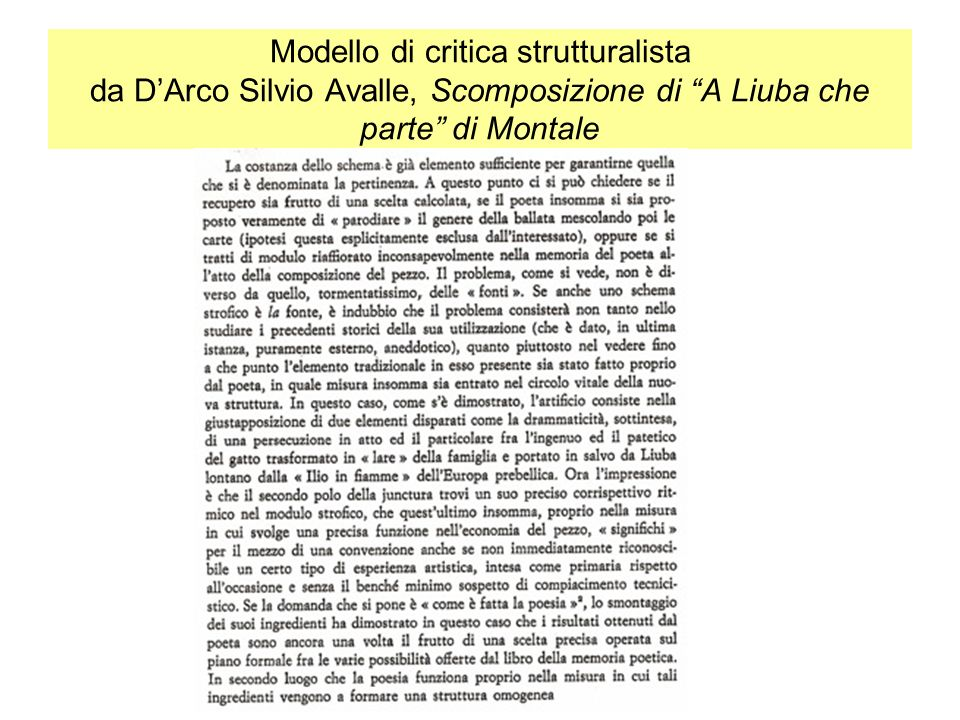 Modello di critica strutturalista da DArco Silvio Avalle, Scomposizione di A Liuba che parte di Montale