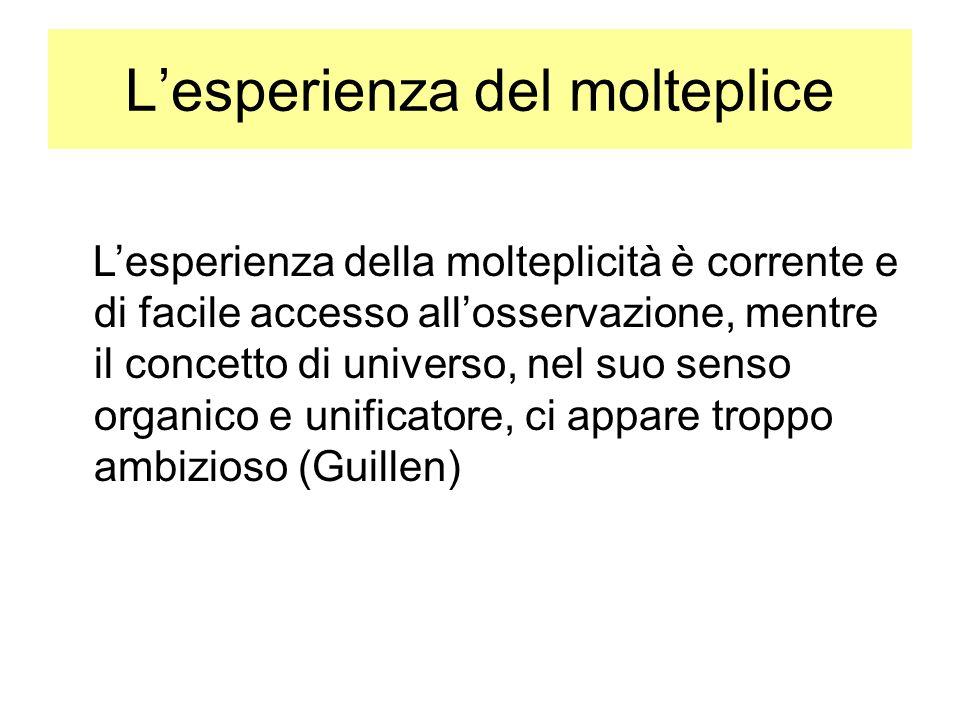 Lesperienza del molteplice Lesperienza della molteplicità è corrente e di facile accesso allosservazione, mentre il concetto di universo, nel suo senso organico e unificatore, ci appare troppo ambizioso (Guillen)