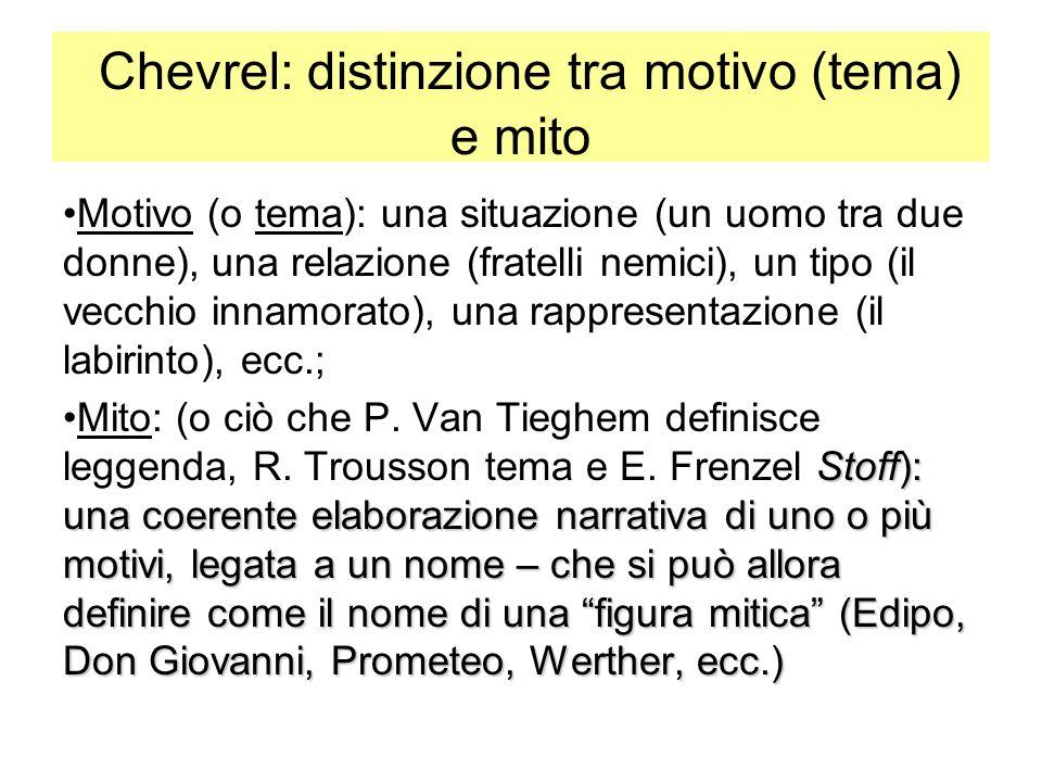 Chevrel: distinzione tra motivo (tema) e mito Motivo (o tema): una situazione (un uomo tra due donne), una relazione (fratelli nemici), un tipo (il ve