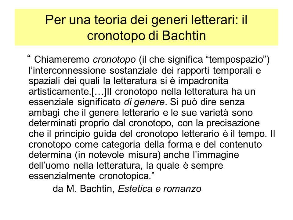 Per una teoria dei generi letterari: il cronotopo di Bachtin Chiameremo cronotopo (il che significa tempospazio) linterconnessione sostanziale dei rapporti temporali e spaziali dei quali la letteratura si è impadronita artisticamente.[…]Il cronotopo nella letteratura ha un essenziale significato di genere.