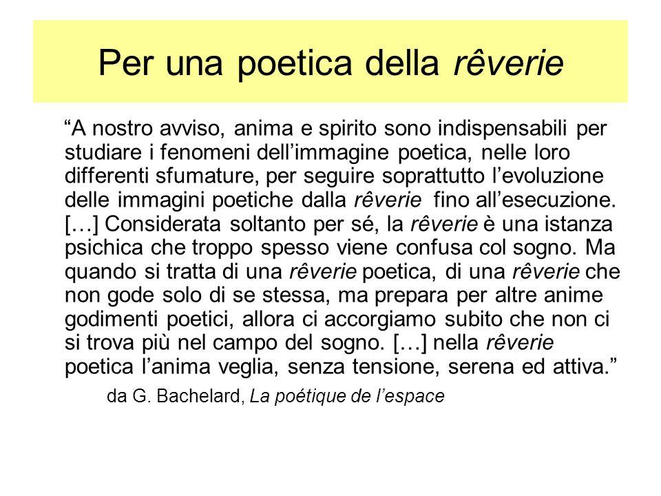 Per una poetica della rêverie A nostro avviso, anima e spirito sono indispensabili per studiare i fenomeni dellimmagine poetica, nelle loro differenti sfumature, per seguire soprattutto levoluzione delle immagini poetiche dalla rêverie fino allesecuzione.