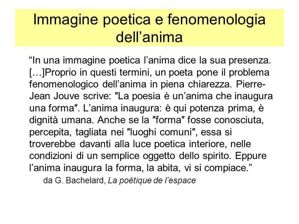 Immagine poetica e fenomenologia dellanima In una immagine poetica lanima dice la sua presenza. […]Proprio in questi termini, un poeta pone il problem