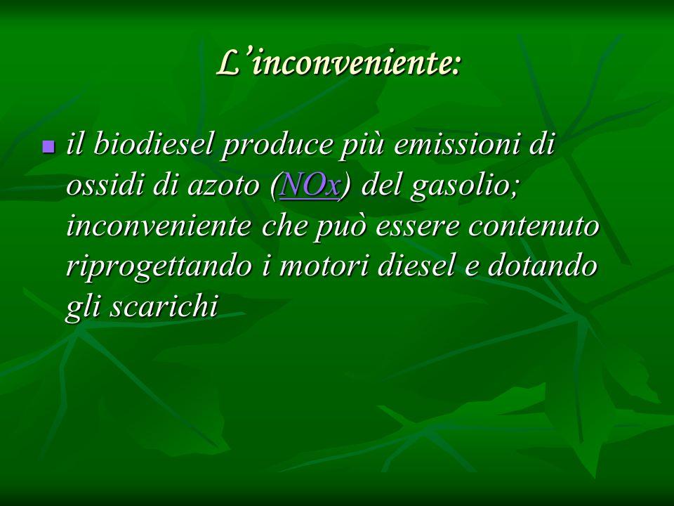 Linconveniente: il biodiesel produce più emissioni di ossidi di azoto (NOx) del gasolio; inconveniente che può essere contenuto riprogettando i motori