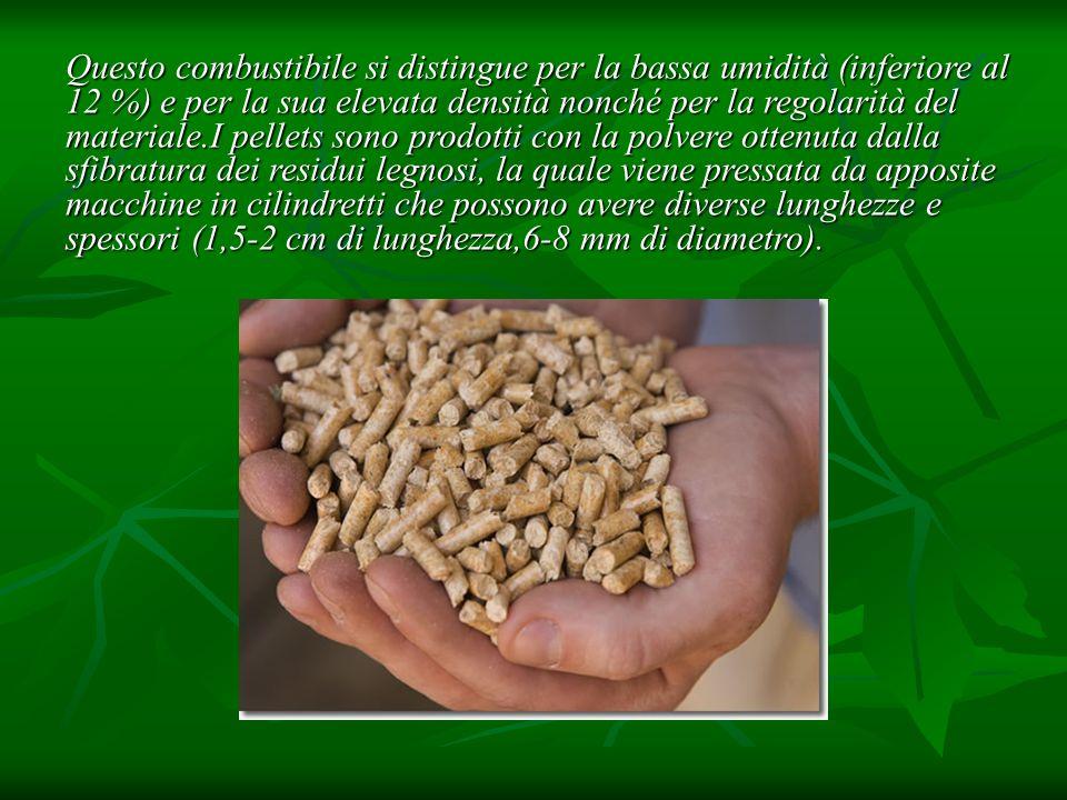 Questo combustibile si distingue per la bassa umidità (inferiore al 12 %) e per la sua elevata densità nonché per la regolarità del materiale.I pellet