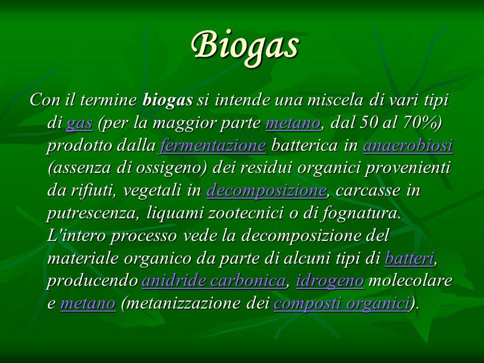 Biogas Con il termine biogas si intende una miscela di vari tipi di gas (per la maggior parte metano, dal 50 al 70%) prodotto dalla fermentazione batt