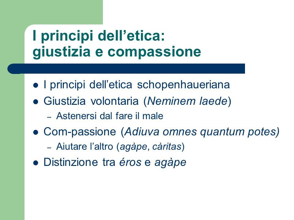I principi delletica: giustizia e compassione I principi delletica schopenhaueriana Giustizia volontaria (Neminem laede) – Astenersi dal fare il male