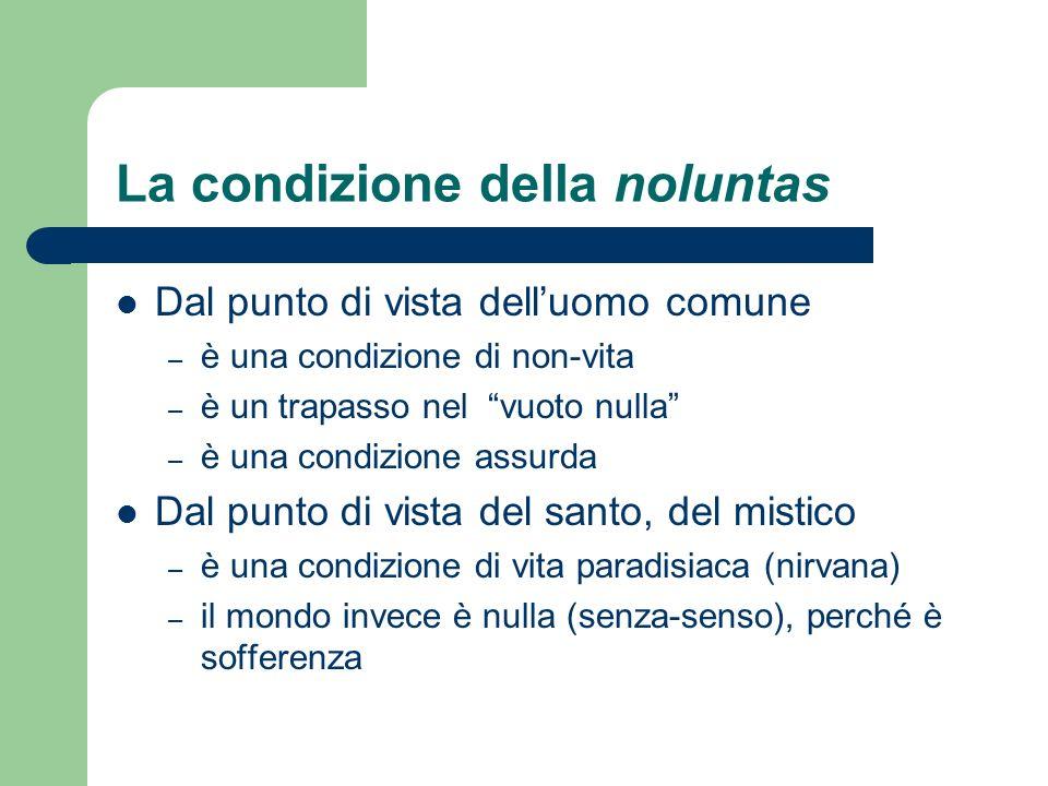 La condizione della noluntas Dal punto di vista delluomo comune – è una condizione di non-vita – è un trapasso nel vuoto nulla – è una condizione assu