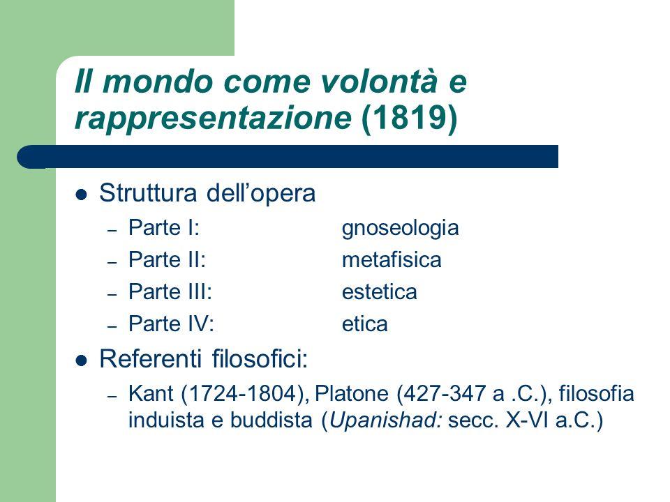Il mondo come volontà e rappresentazione (1819) Struttura dellopera – Parte I: gnoseologia – Parte II: metafisica – Parte III: estetica – Parte IV: et