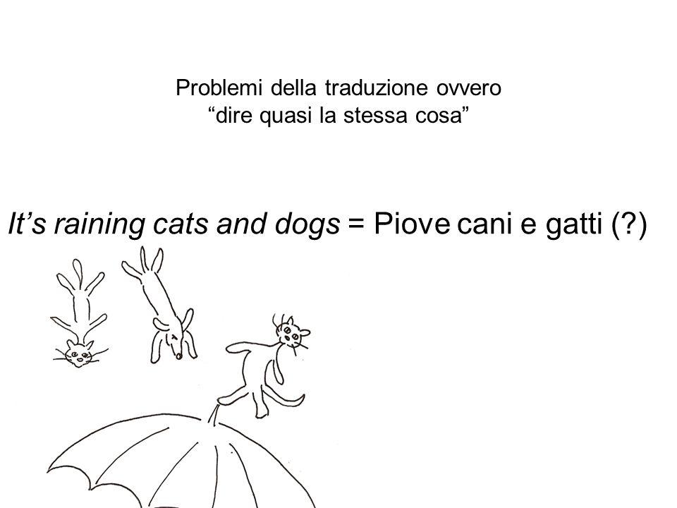 Problemi della traduzione ovvero dire quasi la stessa cosa Its raining cats and dogs = Piove cani e gatti (?)