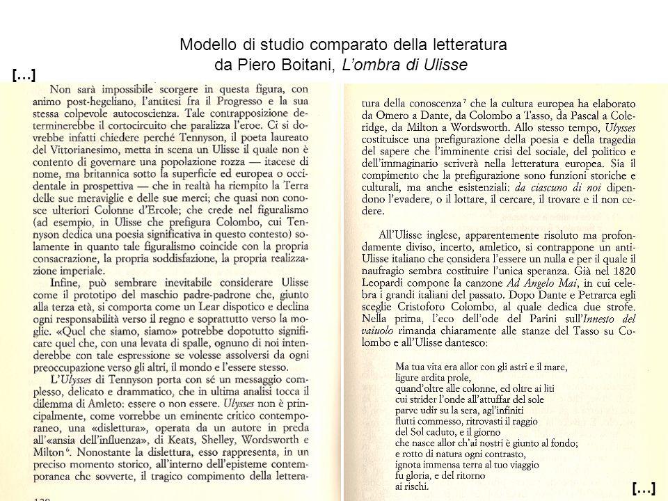 Modello di studio comparato della letteratura da Piero Boitani, Lombra di Ulisse […]